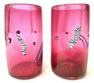 Pair Signed Hand Blown Cranberry Glass Vessels