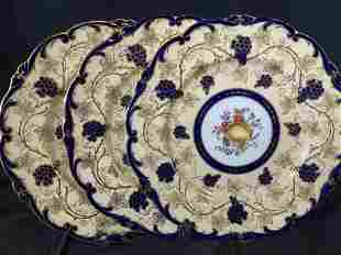 Set 3 COALPORT Porcelain Vineyard Plates, England