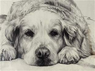 Lot 2 Signed Golden Retriever Drawing & Lithograph