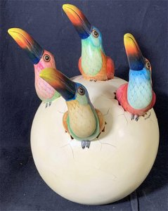 Sgn Sergio Bustamante Toucan Egg Ceramic Sculpture