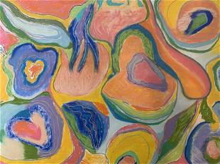 HARRIS Signed Abstract Pastel Drawing