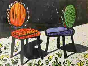 LESLIE MUELLER Whimsical Pair Lithograph