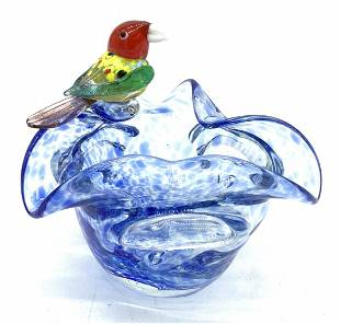 Murano Glass Style Bowl With Bird Figural