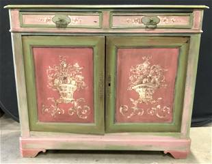 Antique Wooden Painted Sideboard W Drawers
