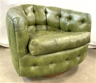 Pr THAYER COGGIN MCM Tufted Barrel Back Chairs