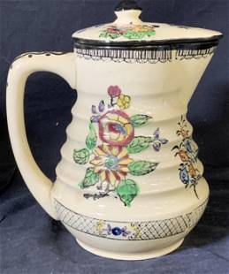 Hand Painted Ceramic Pitcher W Lid, Japan