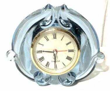 Vintage Blue FENTON Glass Clock