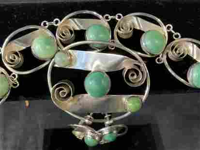 Mexican Silver & Stone Jewelry Set 4