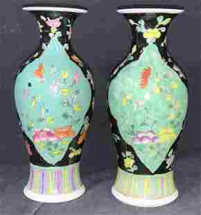 Pr Hand Painted Signed Porcelain Chinoiserie Vases