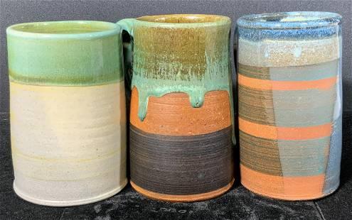 Lot 3 Signed Handcrafted Artisan Ceramic Mugs