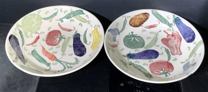 Pair BRIDGEWATER Hand Decorated Spongeware Bowls