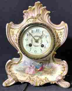 Hand Painted Sgn Porcelain Mantle Clock, France