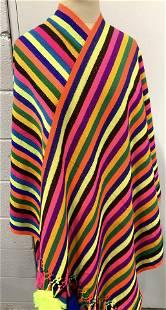 Pair Woven Fashion Shawl/Tapestry, Neon Stripe