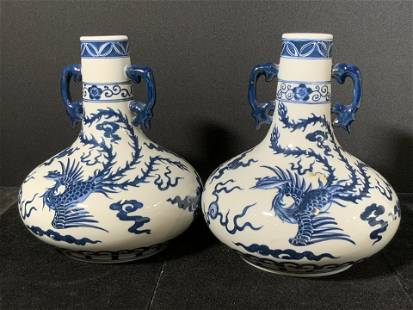 Pair Signed Asian Blue & White Porcelain Vases