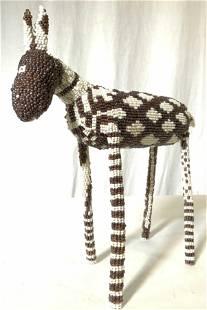 Handmade Seed Beaded Donkey Figural