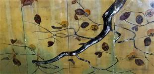 Oil on Canvas Quadriptych of Fruit Tree Branch