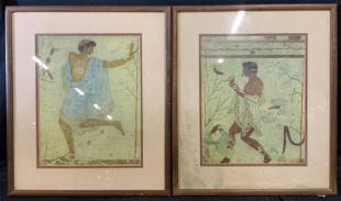 Pair Framed Lithographs, Dancer and Musician