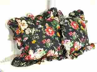 Pr RALPH LAUREN Black Floral Ruffled Pillows