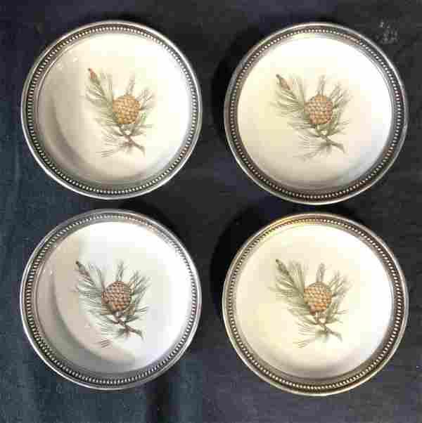 Set 4 Porcelain ROSENTHAL Coasters W Sterling Rims