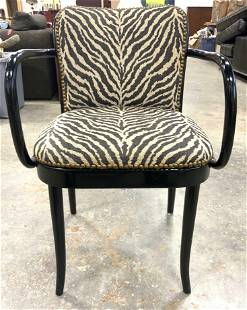 Lacquered Zebra Print End Chair