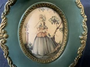 Miniature Offset Lithograph Female Portrait