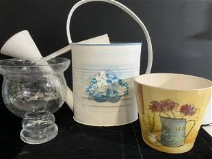 Tole Ware Water Can w Garden Accessories, 3