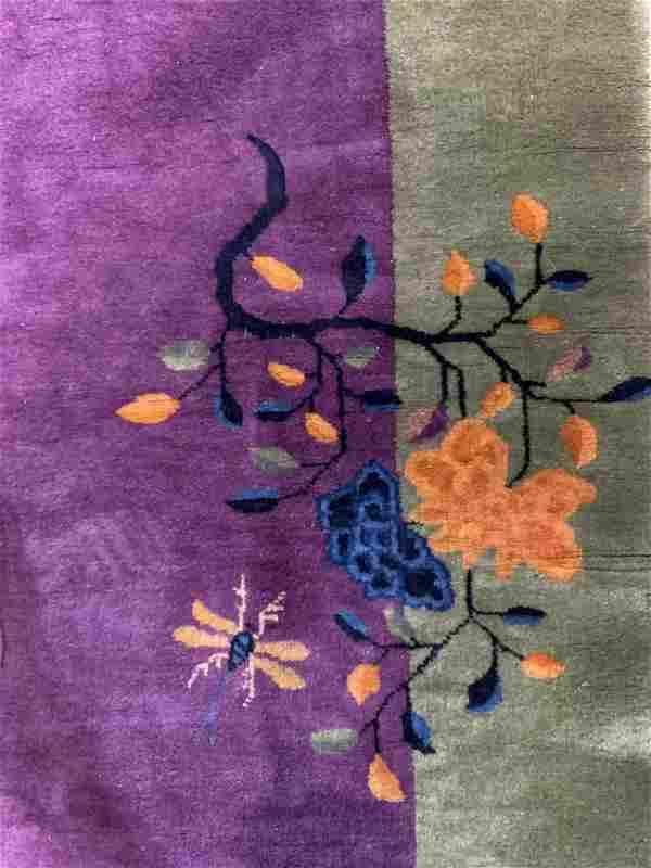 Vintage Chinese Art Deco Wool Pile Rug