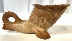 Antique Caramel Glass Fish Vessel