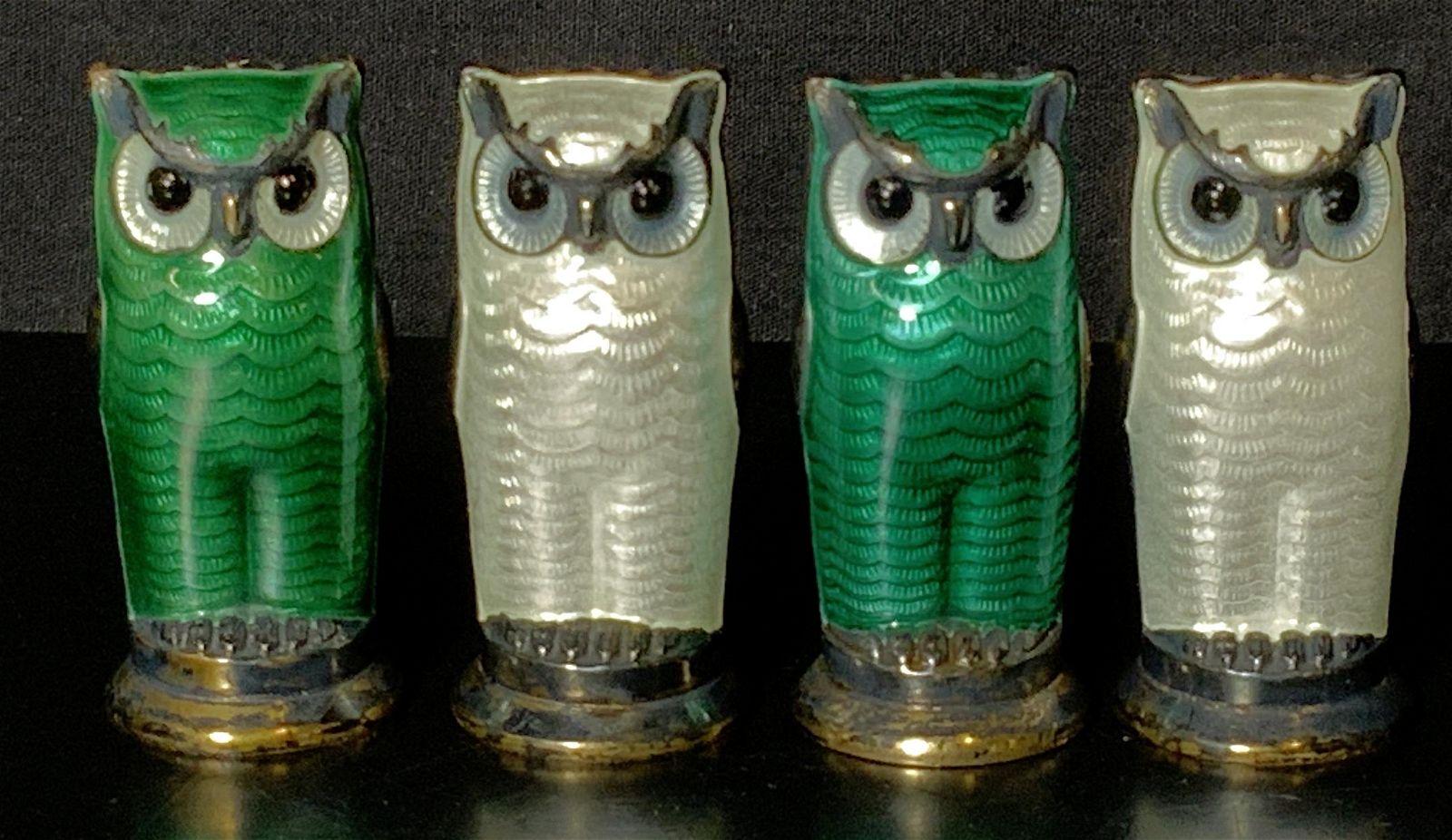 Sterling Silver Enamel Owl Shakers David Andersen