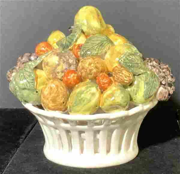 French Hand Painted & Glazed Ceramic Fruit Basket