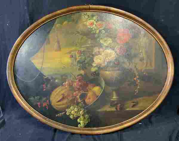 Antique Fruit and Floral Still Life Oil on panel