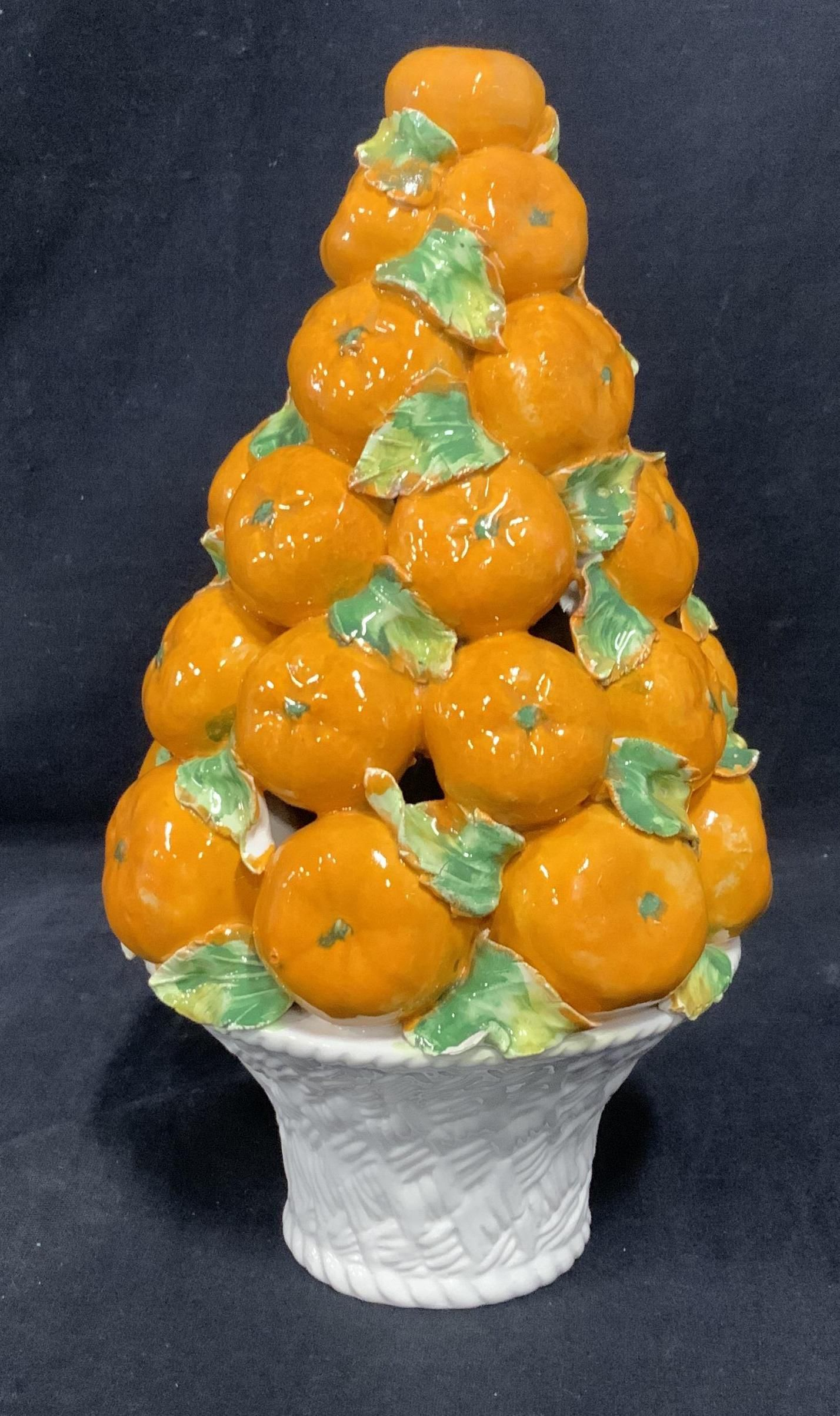 Italian Orange Tree Ceramic Topiary, Italy