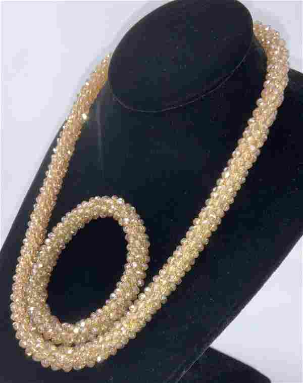 Handmade Champagne Aurora Borealis Jewelry Set 2