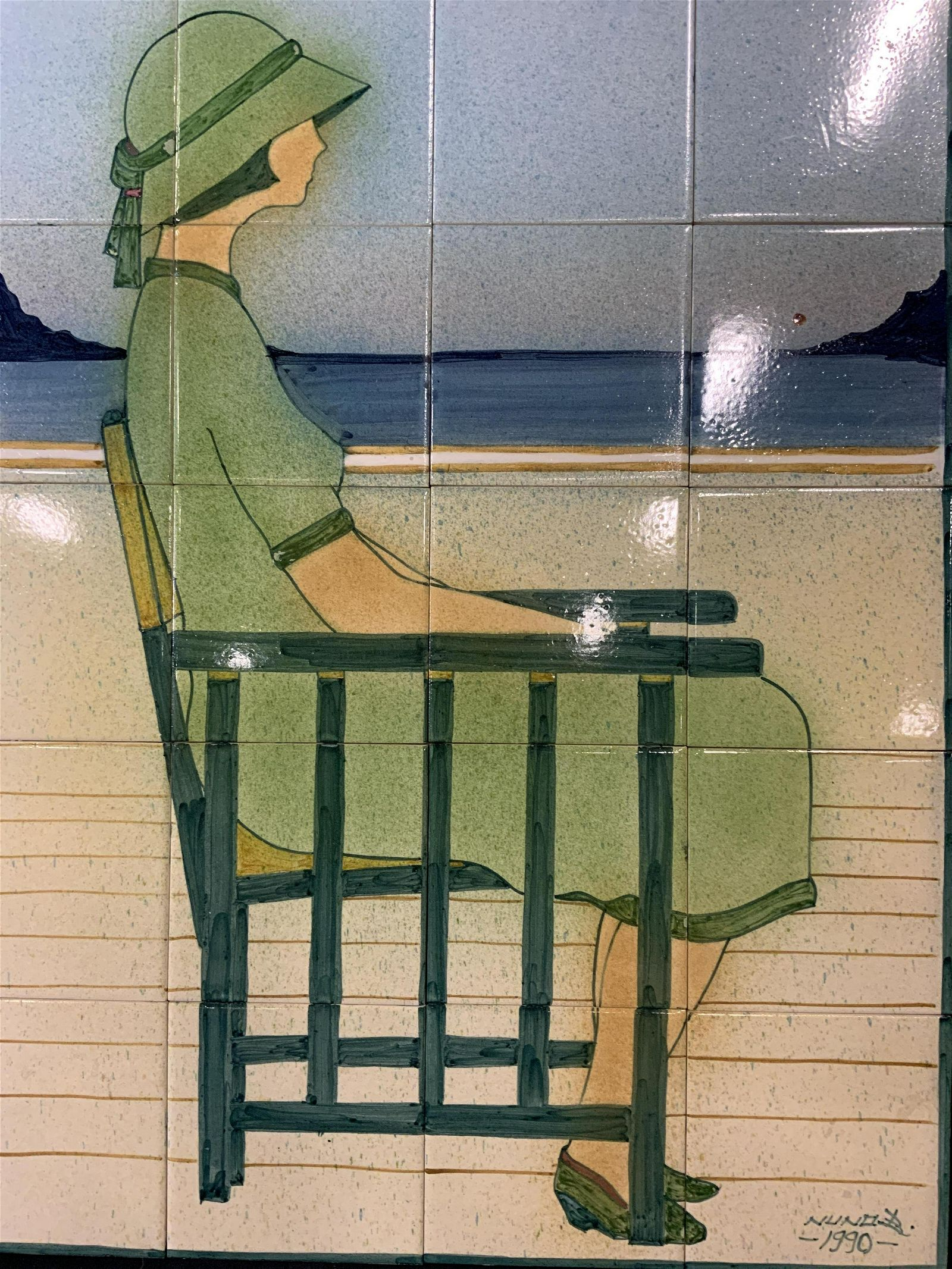 NUNO B Signed Painted Ceramic Tile Portrait Art