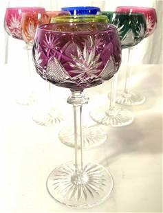 Lot 7 Cut Crystal Bohemian Glass Stemware