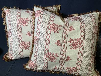 Pair Custom Made Tasseled French Floral Pillows