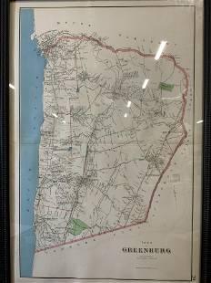 Framed Town of Greenburgh Map Engraving