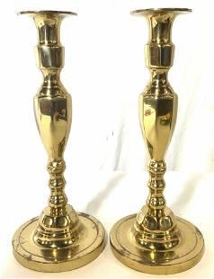 Vintage Pair English Brass Candlesticks