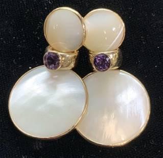 Hand Crafted MOP/ Amethyst 14K Drop Earrings