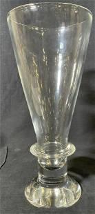Signed Steuben Crystal Trumpet Vase
