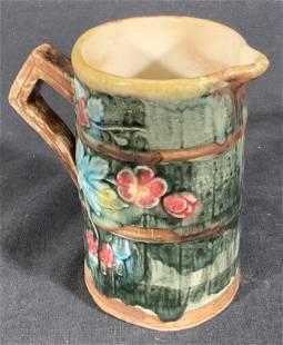 Vintage Ceramic Majolica Floral Pitcher