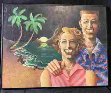 HOGSETT Signed Acrylic on Panel Portrait Painting