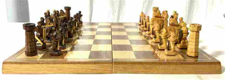 Set 32 Carved Wooden Chess Set & Board
