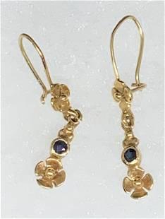 14 K Yellow Gold & Spinel Dangle Earrings