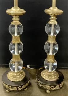 Pair MAITLAND SMITH Glass & Metal Lamps