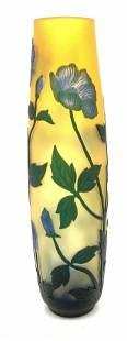 Signed ATTR GALLÉ Cameo Glass Vase w Flowers