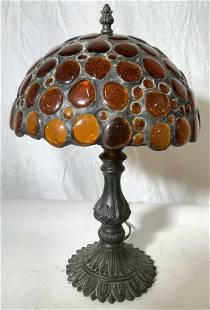 Signed Hoosin Metal Table Lamp Amber Glass Shade