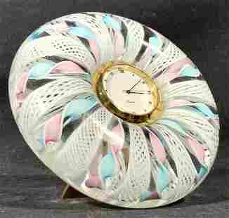 Art Glass Circular Form Tabletop Clock
