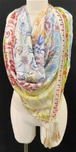 JOHNNY WAS Signed Silk Floral Tassel Scarf
