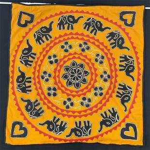 Embroidered African Elephant Wall Tapestry on Rod